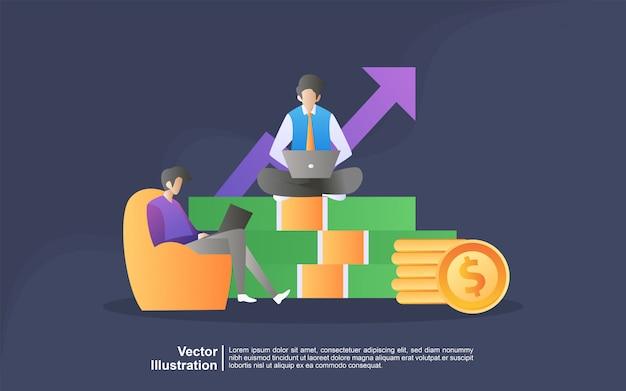 Ilustración del concepto independiente en estilo de dibujos animados.