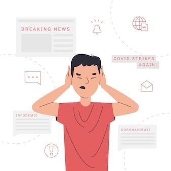 Ilustración del concepto de infodemia
