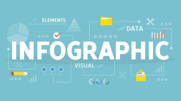 Ilustración del concepto de infografía. idea de organización de datos.