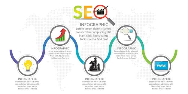 Ilustración de concepto de infografía de infografías de seo