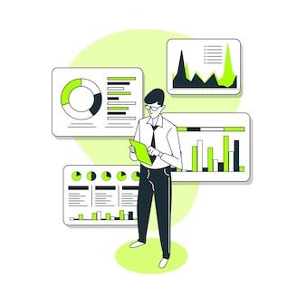 Ilustración del concepto de informe de datos