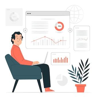 Ilustración de concepto de informe en línea