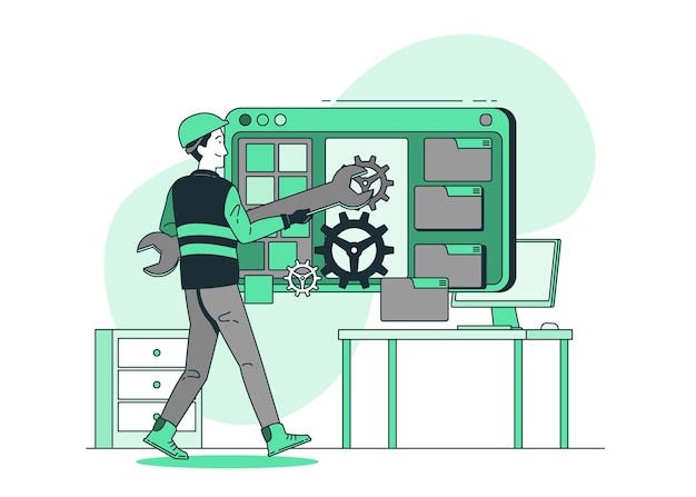 Ilustración de concepto de ingeniero de software
