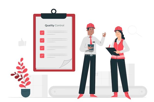 Ilustración del concepto de ingenieros de control de calidad
