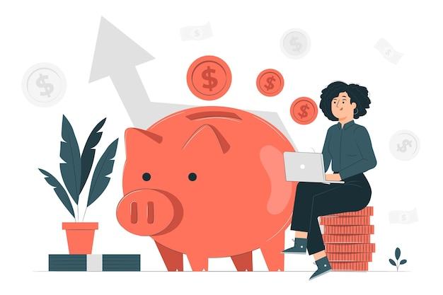 Ilustración de concepto de ingresos de dinero