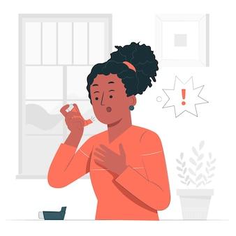 Ilustración del concepto de inhalador
