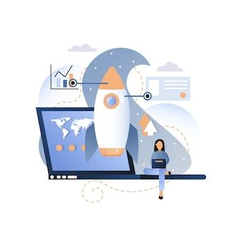 Ilustración de concepto de inicio de cohete de proyecto empresarial