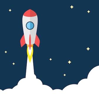 Ilustración del concepto de inicio. flying rocket sobre fondo oscuro