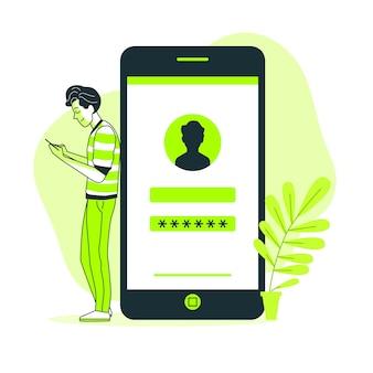 Ilustración del concepto de inicio de sesión en móvil