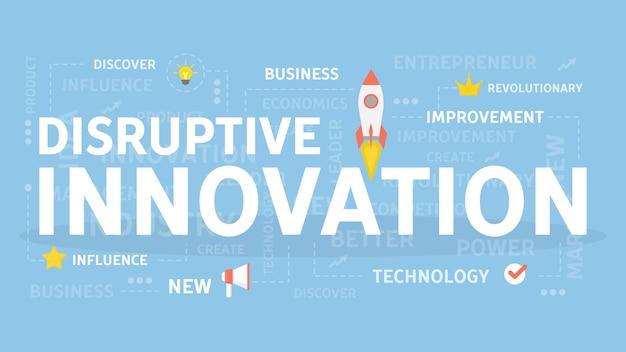 Ilustración del concepto de innovación disruptiva. idea de nueva tecnología y creatividad.