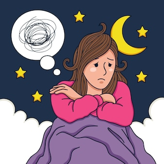 Ilustración del concepto de insomnio