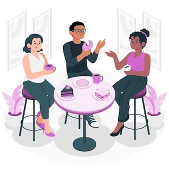 Ilustración del concepto de interacción social