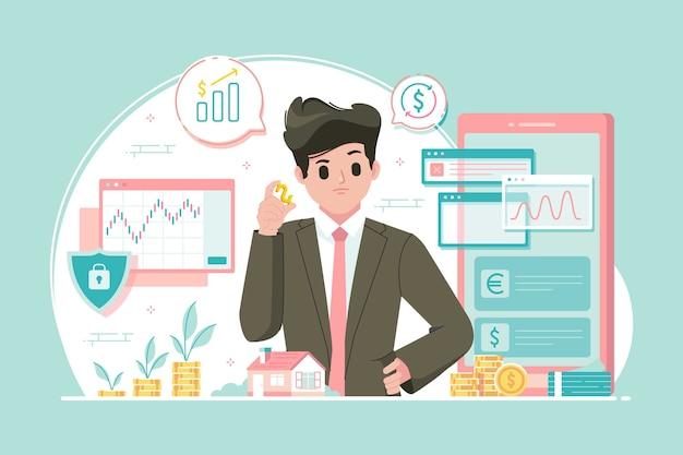 Ilustración del concepto de inversión en acciones