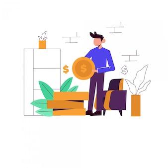 Ilustración del concepto de inversión para la página de inicio
