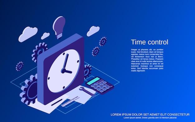 Ilustración de concepto isométrico 3d plano de control de tiempo