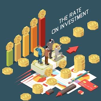Ilustración de concepto isométrico de crecimiento de inversión comercial en línea