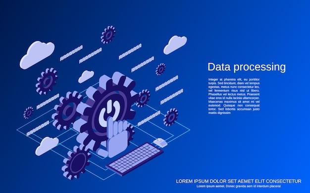 Ilustración de concepto isométrico plano de procesamiento de datos