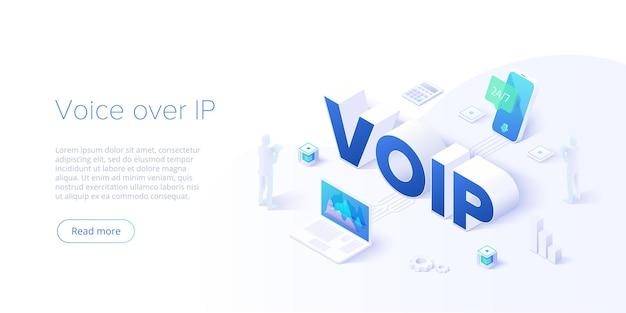 Ilustración de concepto isométrico de voip