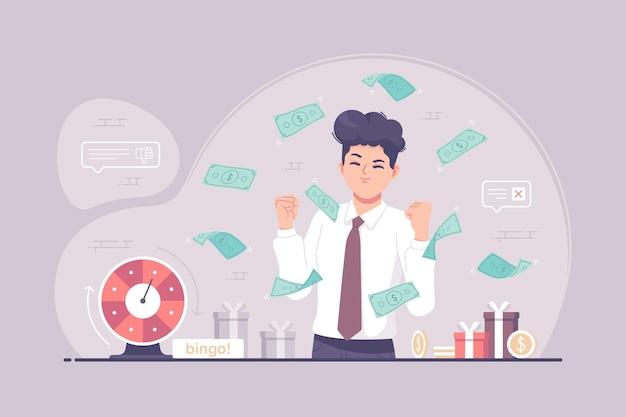 Ilustración de concepto de juego de juego de bingo de hombre de negocios