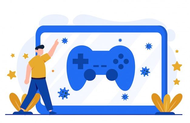 Ilustración del concepto de juego para la plantilla de página de destino