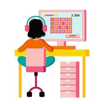 Ilustración del concepto de juegos en línea con chica