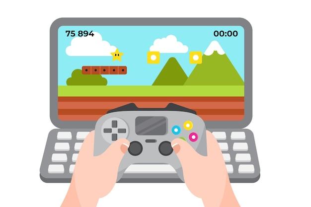 Ilustración del concepto de juegos en línea con controlador