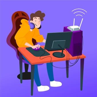 Ilustración del concepto de juegos en línea con jugador