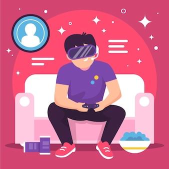 Ilustración del concepto de juegos en línea con niño jugando vr