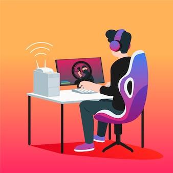 Ilustración del concepto de juegos en línea con persona