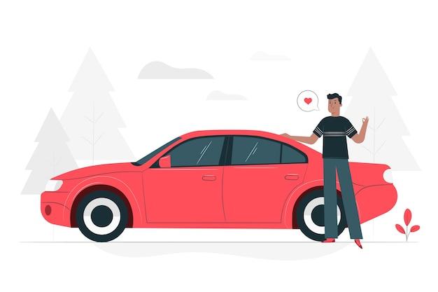 Ilustración de concepto junto a mi coche