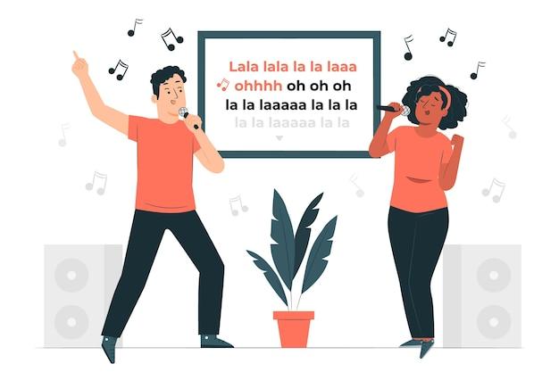 Ilustración del concepto de karaoke