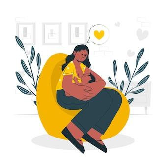 Ilustración del concepto de lactancia materna
