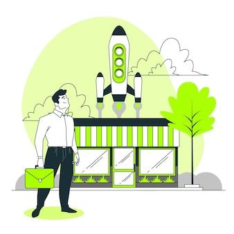 Ilustración del concepto de lanzamiento al mercado