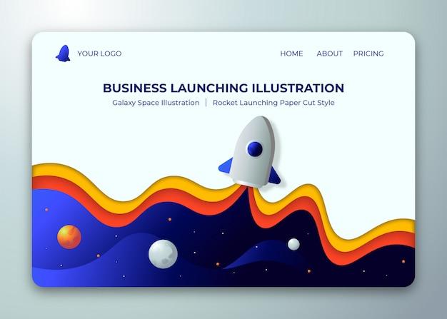 Ilustración de concepto de lanzamiento de negocios con estilo de corte de papel de fondo de cohete y espacio