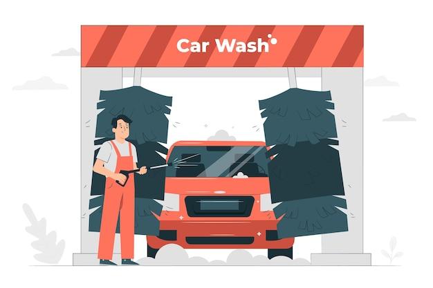 Ilustración de concepto de lavado de coches