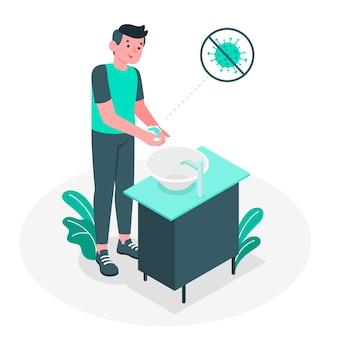 Ilustración del concepto de lavado de manos