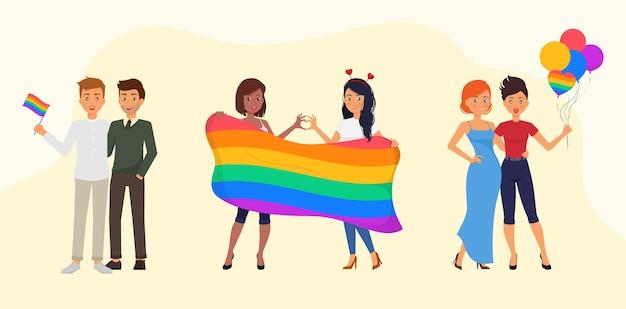 Ilustración de concepto de lgbt de pareja de amor de día del orgullo
