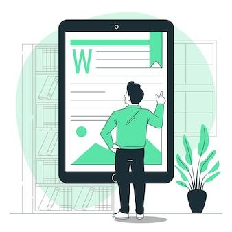 Ilustración del concepto de libro electrónico