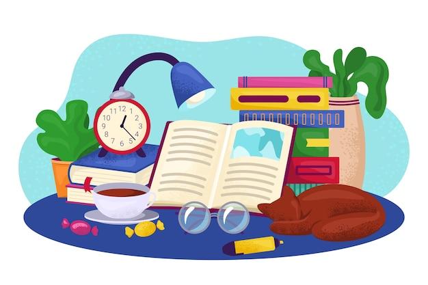 Ilustración de concepto de libro de lectura