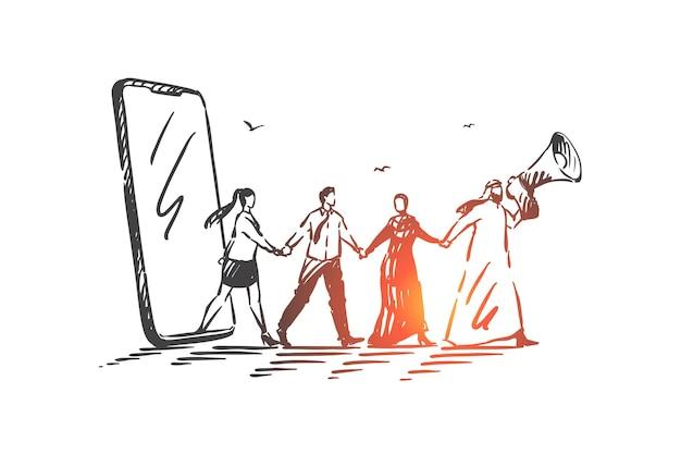 Ilustración del concepto de liderazgo, trabajo en equipo y redes
