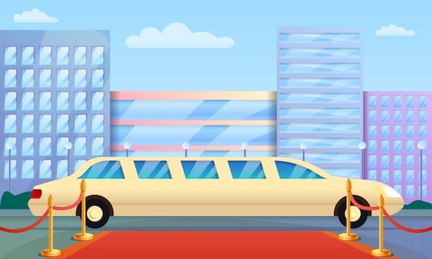 Ilustración de concepto de limusina, estilo de dibujos animados