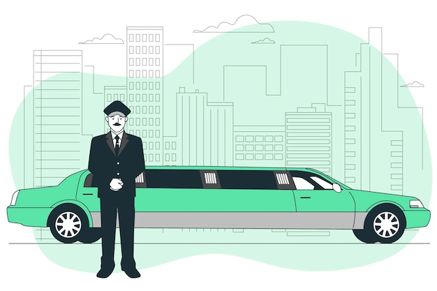 Ilustración del concepto de limusina