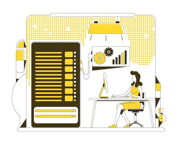 Ilustración de concepto de línea delgada de copia de seguridad de datos