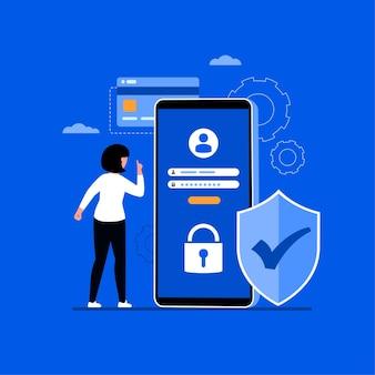 Ilustración de concepto en línea de seguridad de datos cibernéticos, seguridad de internet o privacidad y protección de la información.