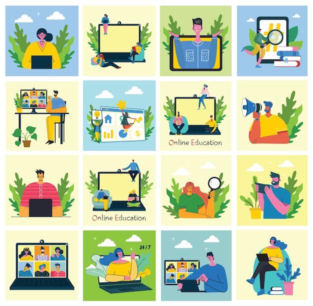 Ilustración de concepto en línea de seminario web. las personas usan el chat de video en computadoras de escritorio y portátiles para realizar conferencias. conjunto de actividad empresarial de personas. trabaja de forma remota desde casa. ilustración de vector plano moderno.