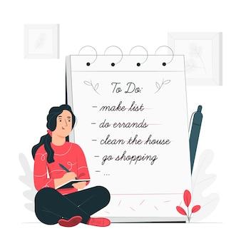 Ilustración del concepto de lista de cosas por hacer