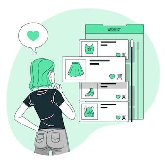 Ilustración de concepto de lista de deseos en línea