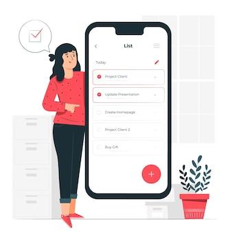 Ilustración del concepto de lista de nota móvil