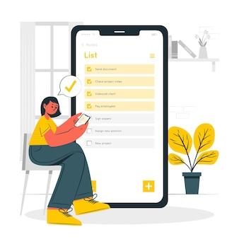 Ilustración de concepto de lista de notas móviles