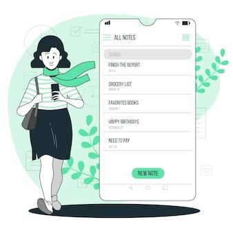 Ilustración del concepto de lista de notas